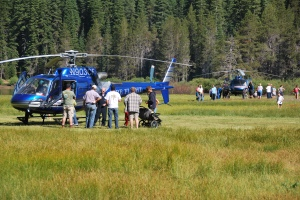 Helicopters arrive at pancake breakfast