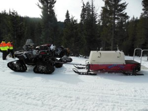 Rescue Sled attached to the ATV  your ride out to the ambulance or helicopter if you get hurt at  Bucks Lake