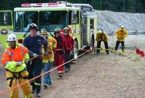 rope rescue training with County agencies,  BLFD member takes the lead