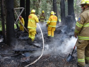 mop up on a cabin fire